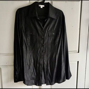PULI Shimmery Black Classic Style Shirt